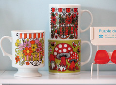 Japanese Mugs: Flowercarts and Mushrooms (Bella Dia) Tags: pink flowers red orange cute green coffee mushrooms japanese mugs tea cups thrift 70s thrifting flowercart