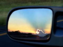 Sunrise (AzRedHeadedBrat) Tags: light arizona southwest clouds sunrise mirror colorful desert rearviewmirror freeway rays drivebyshooting sierravista sharleneshappart