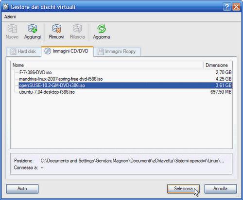 VirtualBox - Gestore dei dischi virtuali: file ISO d'installazione selezionato