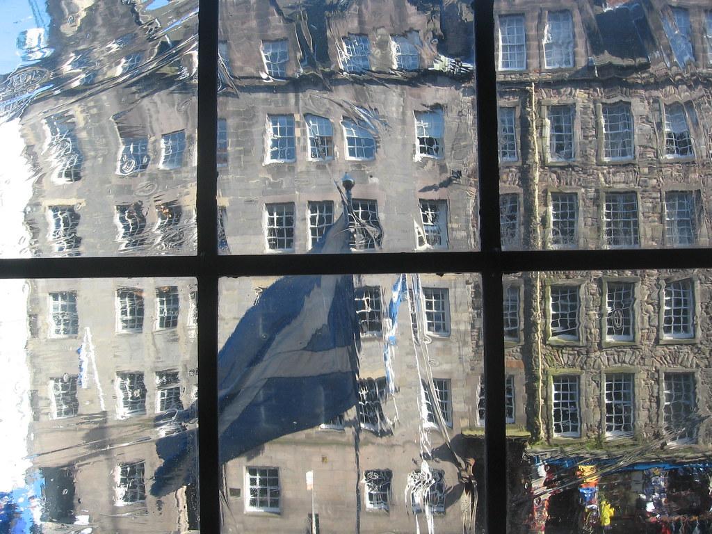 Edinburgh Royal Mile and Scottish Flag