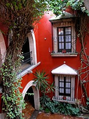 in the Hotel de la Soledad (Z Eduardo...) Tags: red plants window colors mexico hotel arch morelia patio diamondclassphotographer hoteldelasoledad bestofmywinners