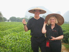 Tea farm:  We had to wear the hats but when we saw the pictures later we were glad we did....  fun picture!