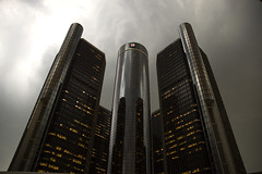 Evil Gm Building (Myron Watkins) Tags: light sky storm clouds town nikon gm downtown shadows d70 general michigan detroit d70s down motors fave explore nikondigital bulding 305 generalmotors 1870 f35 313areacode waynecountydetroitmichigan