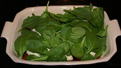layer fresh baby spinach
