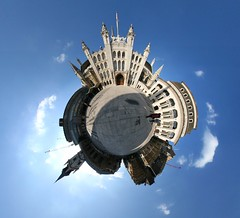 In the courtyard (Man) Tags: uk blue sky panorama sun london clouds 360 full handheld 360x180 spherical planetoid plazza hugin enblend littleplanet manuperez planetoids
