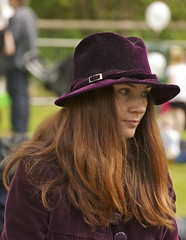 A Red Head (IanAWood) Tags: raw candid hertfordshire peoplewatching rickmansworth womeninhats nikkor70200f28vr canalfestival d3x rickyweek walkingwithmynikon