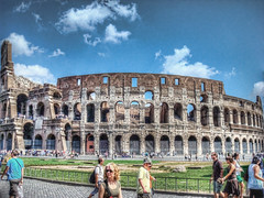 Colosseum HDR (James Warwood) Tags: travel people italy rome roma history roman colosseum historical hdr attraction topaz