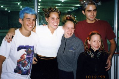 Skaters (Christina is the little one at age 9) during Crazy Hair Day at the rink, 1999.