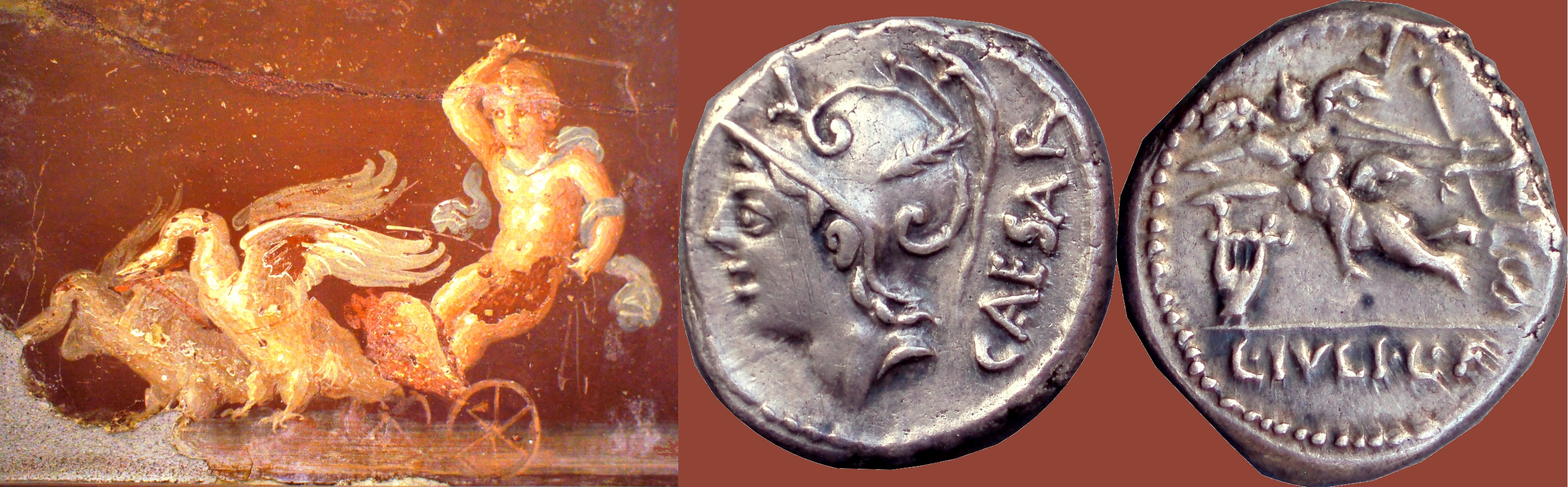 320/1 coin with Venus and a Biga of Cupids, 103BC, with miniature painting of Cupid and a Biga of Swans from Pompeii