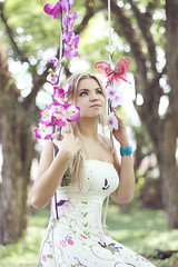 Woods Fairy (AnnuskA  - AnnA Theodora) Tags: park flowers portrait girl beautiful butterfly colorful bokeh extreme 50mm14 swing greeneyes blond dreamy enchanted shesafriendfromswimteam