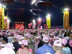 Inside the big pink tent