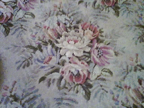 antique rug floral closeup
