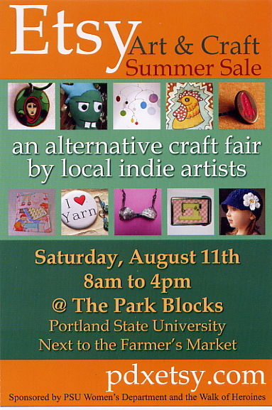 August 11: Reminder -- Portland Etsy Art and Craft Summer Sale in the Park Blocks