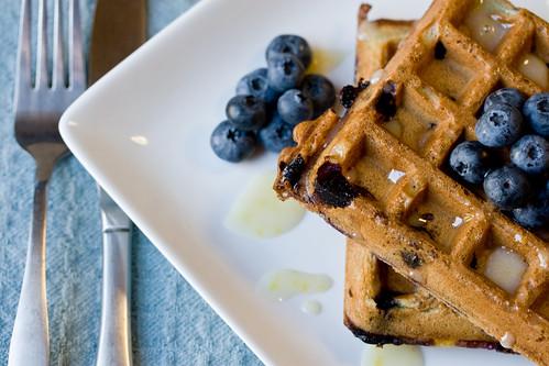 Fresh Blueberry Waffles with Lemon Icing