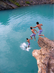 Hoa Sequence One (I voted for Kodos) Tags: blue summer cliff lake canada mountains cold water jump jumping stitch abraham cliffs alberta sequence clone cliffjumping photostitch glacial abrahamlake cliffjump