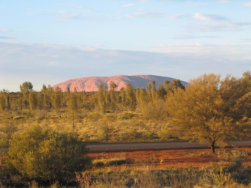 Sunrise view of Uluru from our hotel room.