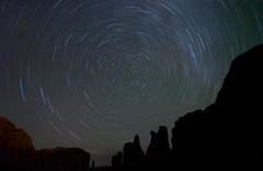 Polaris Borealis: Park Avenue, Arches National Park (gsgeorge) Tags: longexposure lightpainting night utah north arches astrophotography moab nightsky archesnationalpark rockformations startrails parkavenue astrophoto polaris milkyway northstar northernstar onehourexposure flickrdiamond polarisborealis