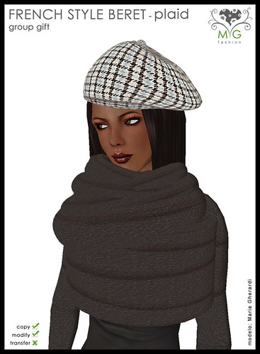 [MG fashion] French style beret - plaid