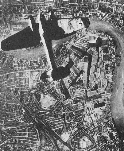 Bomber  over Surrey Docks