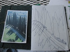 cypress-sketch (slowlysheturned) Tags: sketch cypresses spannocchia artjournaling crafting365 tapestrydesign