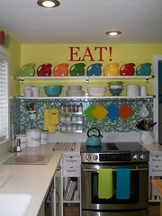 New Eat Sign 004 (supershoppertoo) Tags: ikea sign colorful bright eat fiestaware kitcen mosaictilebacksplash diskpitcher adelwhite jarpen shelvesopenshelving downdraftstove