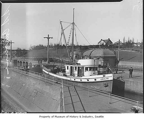 Fishing boat Caroline in Ballard locks, Seattle, 1938