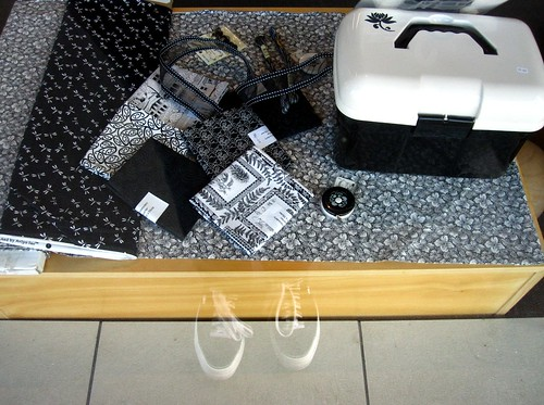 Black and white temptations in the window of Nancy's Thorndon Quay