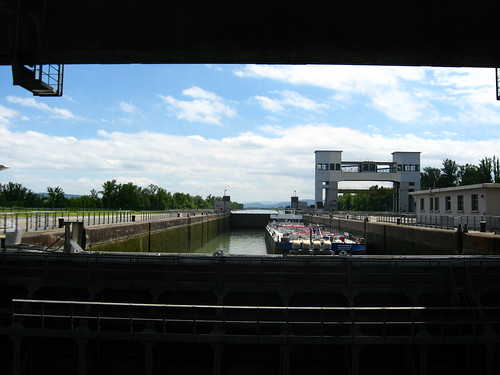 A lock on the Rhine River in southern Germany.