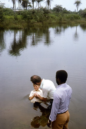 Baptism of MH in swamp along coast of Liberia West Africa--three miles south of Monrovia--sometime in 1976