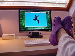 Casual Friday (purplelime) Tags: apple mac purple mini itunes macmini stevejobs friday crocs applemacmini futab feetuptakeabreak samsung20in ilovebeinglazyinmypyjamas