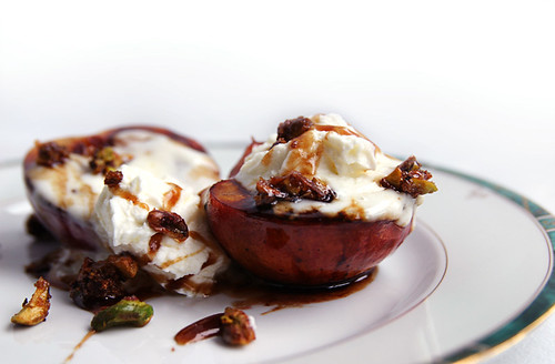 Grilled Nectarines with Balsamic Syrup and Mascarpone