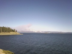 yellowstone lake. fire in bac (Steven Cloud) Tags: camera phone heat helio