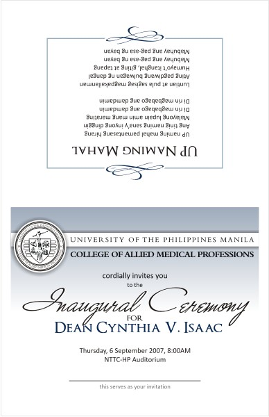 Inauguration Invitation Front-Back