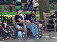 Cute guys (highstrungloner) Tags: philadelphia pennsylvania beards philly rittenhousesquare benches goatee