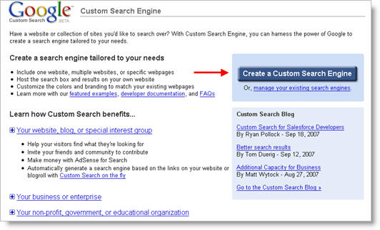 Google Custom Search Homepage