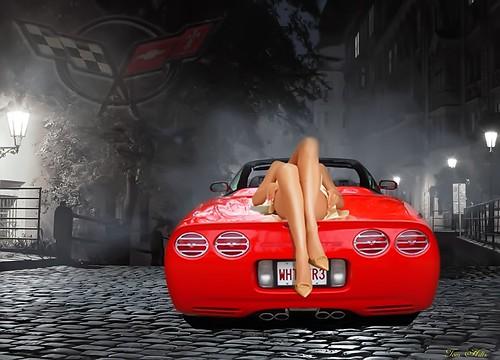 night time on a c5 corvette - Corvette C5 Logo Wallpaper