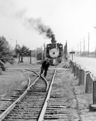 Buster Keaton and train, 1956