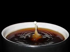 Just a Drop of Milk (Bobshaw) Tags: black cup coffee milk drink drop splash