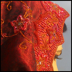 Pakistan: Dreaming of a red wedding? (Sir Cam) Tags: wedding pakistan red bride dress patterns silk islamabad