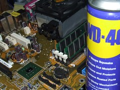 WD-40 remove thermal compound from Processor attach point on computer motherboard