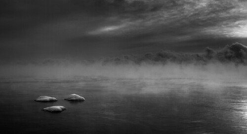 Three Rocks in Mist, Lake Superior, 2005