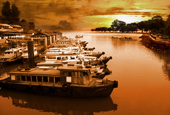 Daybreak at Changi Point (williamcho) Tags: sea sunrise reflections landscape singapore daybreak boatride warmtones oldboats thebigone bumboats abigfave canona640 anawesomeshot amazingshots diamondclassphotographer searchandreward flickrelite changijetty eastcoastofsingapore jettytopulauubin