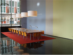 Meeting table (kwikzilver) Tags: old city windows urban building dutch architecture modern table carpet outside design office matthijsborghgraef view chairs interior lounge lobby lamps eyewashdesign schielandhuis kwikzilver robecotoren wgquist