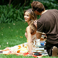 Sarah Michelle Gellar makes quite the lovely bookworm for a photo shoot at a New York City park on Wednesday. (www.thequeerofallmedia.com-actresses and divas) Tags: woman cinema sexy celebrity beautiful beauty sarah female femme mulher michelle hollywood actress moviestar movies celebrities popstar gellar atriz hotttie saranmichellegellar