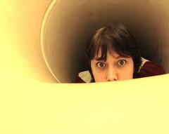 hidey-hole (googlit) Tags: portrait selfportrait playground yellow geotagged hole elise tube sb600 tunnel slide hide hidey