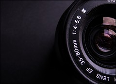 Lens I (J. Wiegand) Tags: white black canon lens sony cybershot minimal h2 56