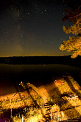 Lakeside Night Sky (photo.klick) Tags: sky lake wisconsin night dark stars dock cabin photoblog nighttime shore vega constellations milkyway katsingercom