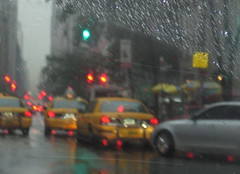 Manhattan Rain (mcgillies) Tags: city nyc streets rain yellow lights traffic manhattan taxis cabs