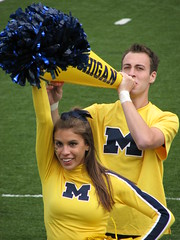 Let's Go Blue (bekahlp) Tags: football cheerleaders michigan annarbor notredame bighouse universityofmichigan collegefootball big10