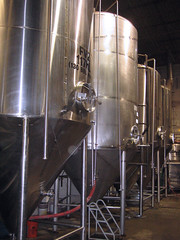 Stainless Steel fermenters at a brewery